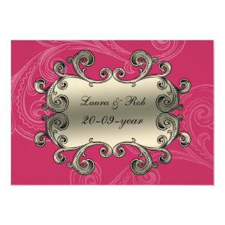 königlich blühen Sie rosa Damast danken Ihnen 12,7 X 17,8 Cm Einladungskarte