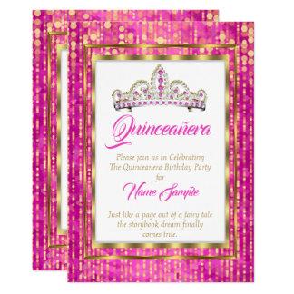 Königliche Prinzessin Pink Quinceanera Gold White Karte