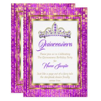 Königliche Prinzessin Purple Quinceanera Gold Karte