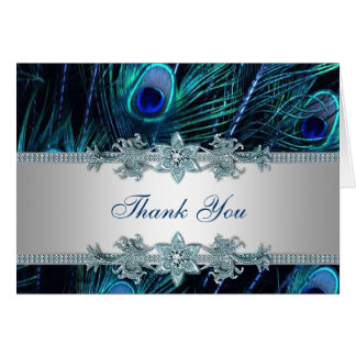 Königlicher aquamariner blauer Pfau danken Ihnen Karte