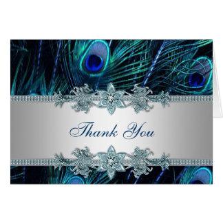 Königlicher aquamariner blauer Pfau danken Ihnen Mitteilungskarte
