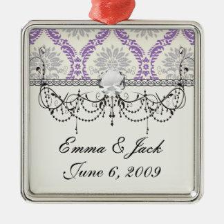 königlicher lila grauer und Sahnedamastentwurf Silbernes Ornament