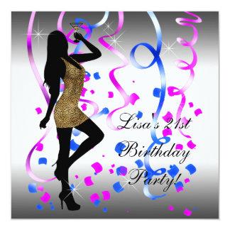Königliches Blau-heißes Rosa-21. Geburtstags-Party Quadratische 13,3 Cm Einladungskarte
