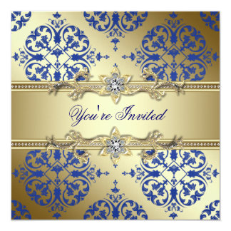 Königliches Blau-und Golddamast-Party Einladungen