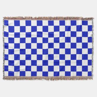 Königliches Blau-und Weiß-Schachbrett-Brett-Muster Decke
