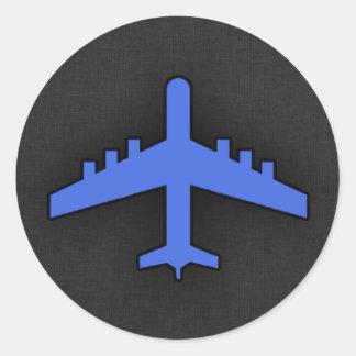 Königsblau-Flugzeug Runder Aufkleber