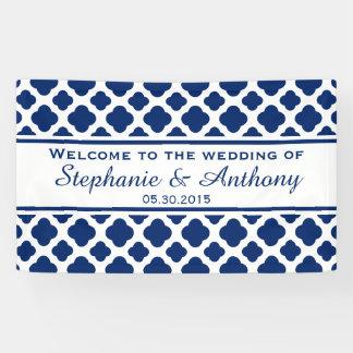 Königsblau Quatrefoil Hochzeits-Willkommen Banner