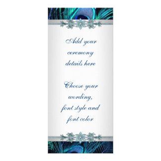 Königsblau-silberne Pfau-Hochzeits-Programme Kartendruck