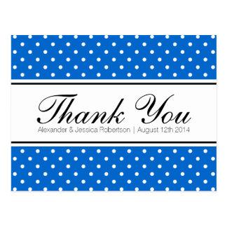 Königsblau-Tupfenhochzeit danken Ihnen Postkarten