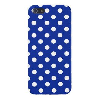 Königsblau-und Weiß-Tupfen iPhone 5 Etui