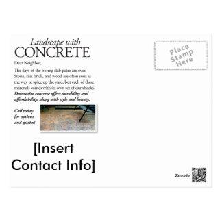 Konkrete landschaftlich gestaltenpostkarte mit postkarte