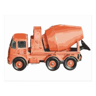 Konkreter orange Zement-Spielzeug-LKW Postkarte