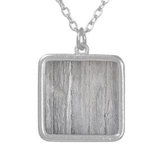 Konkretes Holz Halskette Mit Quadratischem Anhänger