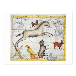 Konstellation von Monoceros mit Canis-Major und MI Postkarte