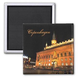 Kopenhagen, Dänemark nachts Quadratischer Magnet
