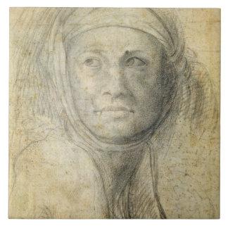 Kopf einer Frau (Bleistift auf Papier) Große Quadratische Fliese