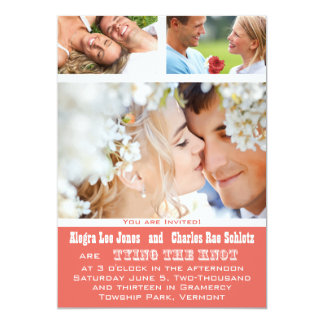 Koralle Ihre Foto-Typografie-Hochzeits-Einladungen 12,7 X 17,8 Cm Einladungskarte