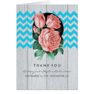 Korallen-und Türkis-Hochzeit danken Ihnen Karten