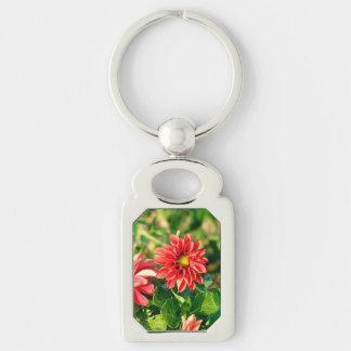 Korallenrote Dahlie-Blume Schlüsselanhänger