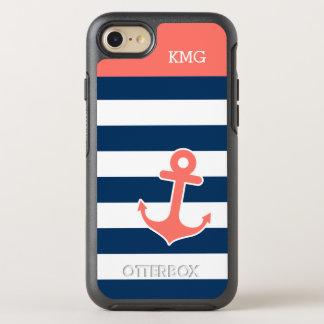 Korallenrote Marine-gestreifte Seeanker-Monogramme OtterBox Symmetry iPhone 8/7 Hülle
