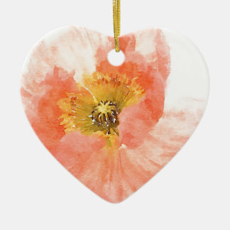Korallenrote Mohnblume Keramik Herz-Ornament