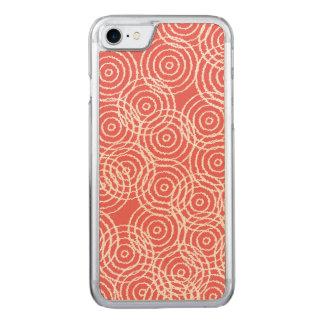 Korallenrote rosa Ikat Deckung kreist Carved iPhone 8/7 Hülle