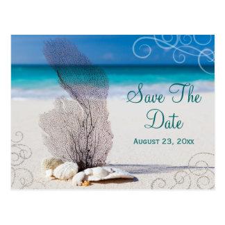 Korallenrote Strand-Save the Date Hochzeit in Postkarte