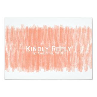 Korallenroter Watercolor-Kindly Antwort-Hochzeit Karte