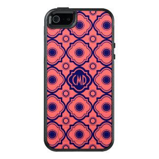Korallenrotes rotes und blaues Quatrefoil OtterBox iPhone 5/5s/SE Hülle