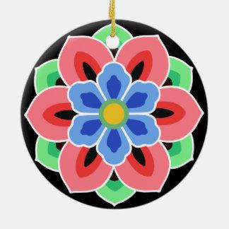 Koreaner Dancheong Blume Keramik Ornament