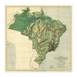 Körperliche Karte von Brasilien (1886) Leinwanddruck