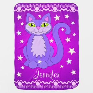 Kosmische Katzen-lila personalisierte Babydecke