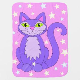 Kosmische Miezekatze-Katzen-knuddelige rosa Kinderwagendecke