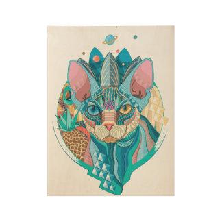Kosmische Sphynx Katze Holzposter