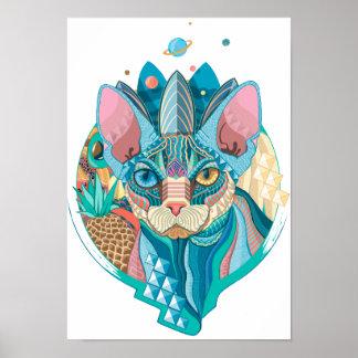 Kosmische Sphynx Katze Poster