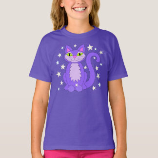 Kosmischer Entwurfs-lila T-Shirt