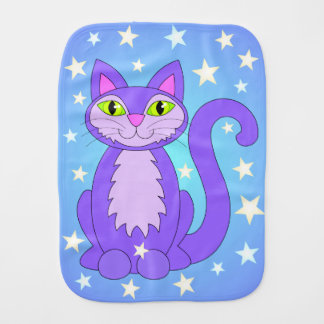 Kosmischer Katzen-CartoonKitty hat Blau in der Baby Spucktuch