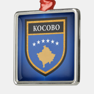 Kosovo-Flagge Silbernes Ornament