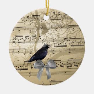 Krähe auf einem Musikblatt Keramik Ornament