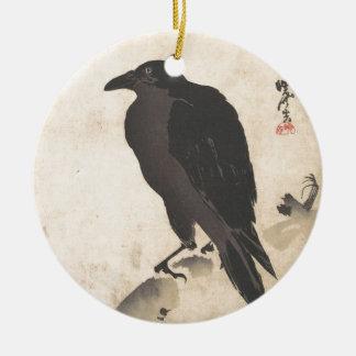 Krähe Kawanabe Kyosai, die auf hölzerner Keramik Ornament