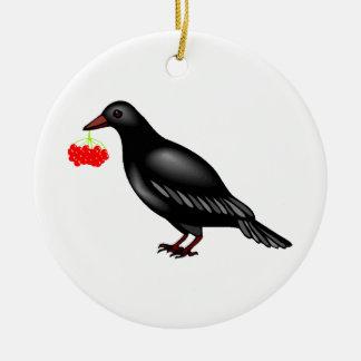 Krähe mit Beeren Keramik Ornament