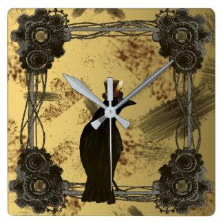 Krähe Steampunk Medien-Kunst-Art-Uhr Quadratische Wanduhr