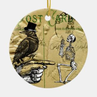 Krähe und Skelett Keramik Ornament