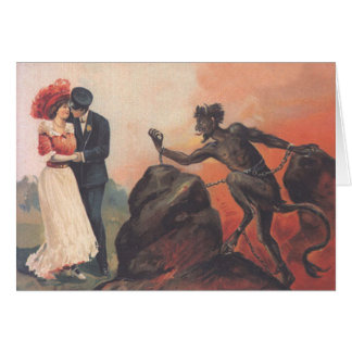 Krampus anpirschende Paar-Höllen-Kette Grußkarte