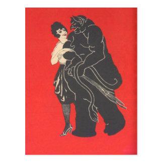 Krampus auf einem Datum Postkarte