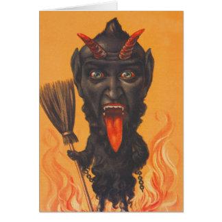 Krampus Besen-Höllen-Ketten Grußkarte