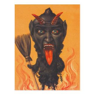 Krampus Besen-Höllen-Ketten Postkarte