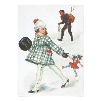 Krampus, das ein kleines Mädchen mit Puppe jagt 12,7 X 17,8 Cm Einladungskarte