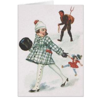 Krampus, das ein kleines Mädchen mit Puppe jagt Grußkarte