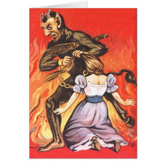 Krampus, das Frau bestraft Grußkarte